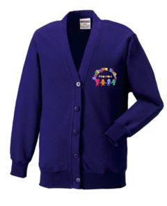 Purple Cardigan - Embroidered with Bedlington Station Primary School