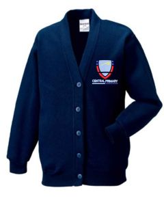 Navy Sweat Cardigan - Embroidered with Central Primary School logo
