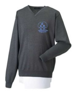 (Year 6 Only) Navy Cotton Knitted V-neck Jumper - Embroidered with Choppington Primary School Logo