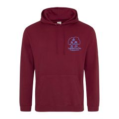 (Required for all pupils) Burgundy Hoodie  - Embroidered with Choppington Primary School logo