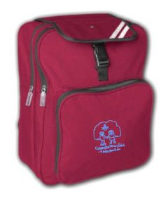 Burgundy Junior Backpack - Embroidered with Choppington Primary School logo