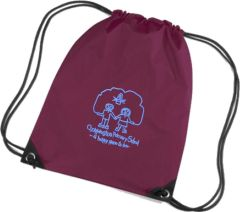 Burgundy PE Bag - Embroidered with Choppington Primary School logo