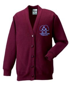Claret Cardigan - Embroidered with Choppington Primary School logo