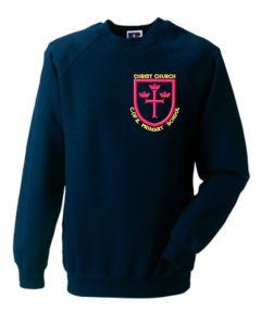 Navy Sweatshirt Crew Neck - With Christ Church C of E Primary School Logo