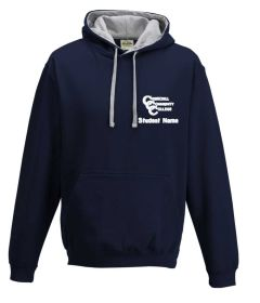 Navy/Grey Hooded Sweatshirt with Churchill Community College Logo (Girls + Boys P.E. - Optional)