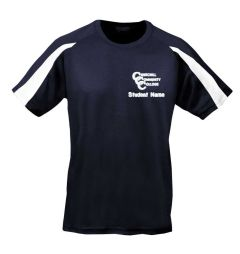 Navy/White Cool Contrast T-shirt - Embroidered with Churchill Community College Logo (Girls + Boys P.E. - Compulsory)