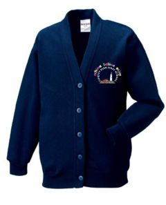 Navy Cardigan - Embroidered With Coquet Park First School Logo