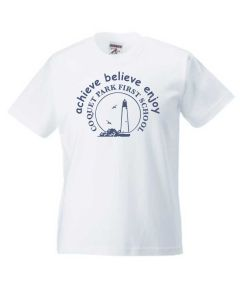 White PE T-Shirt - Printed with Coquet Park First School Logo