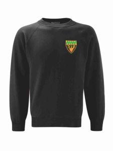 (Green Logo) Black Sweatshirt embroidered with Cramlington Senior Learning Village (Green) Logo
