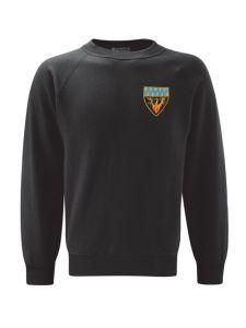 (Blue Logo) Black Sweatshirt embroidered with Cramlington Senior Learning Village (Blue) Logo