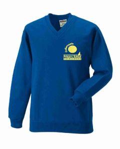 Royal V-Neck Sweatshirt - With Cullercoats Primary School Logo