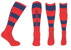 PE Games Socks (Navy/Red Hooped) - for Dame Allan's Junior School (for Years 3-6 Only)