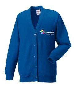 Royal Sweat Cardigan - Embroidered with Darras Hall Primary School logo
