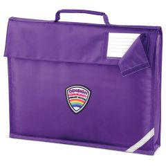Purple Book Bag - Embroidered with Denbigh Primary School Logo