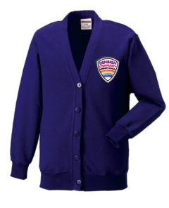 Purple Sweat Cardigan - With Denbigh PS Logo