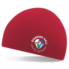 Red Knitted Beannie Hat - Embroidered with Diamond Hall Junior Academy Logo