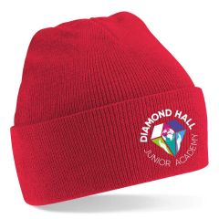 Red Knitted Hat with turn up - Embroidered with Diamond Hall Junior Academy Logo