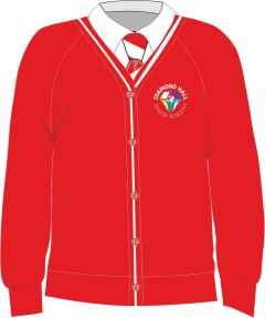 Red/White Trim Cardigan - Embroidered with Diamond Hall Junior Academy Logo