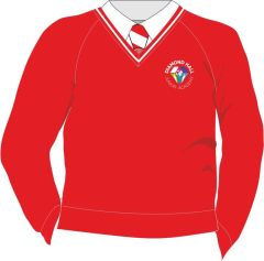 Red/White Trim Jumper - Embroidered with Diamond Hall Junior Academy Logo