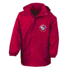 Red Result Stormproof Coat - Embroidered with Diamond Hall Junior Academy Logo