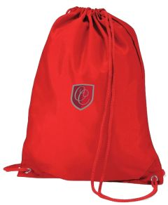 Red Drawstring Bag - Embroidered With Christ's College, Sunderland Logo (Essential for students in Reception and Years 1-6 only)