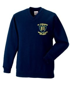 Navy V-Neck Sweatshirt - Embroidered with Dr Thomlinson CofE Middle School logo