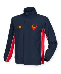 Navy/Red/White Tracksuit Top - Embroidered with Durham Phoenix Fencing Club Logo & Printed Back Text + Optional Initials