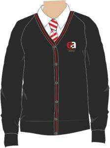 Black/Red Trim Cardigan - Embroidered with Easington Academy School Logo