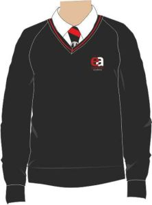 Black/Red Trim Jumper - Embroidered with Easington Academy School Logo