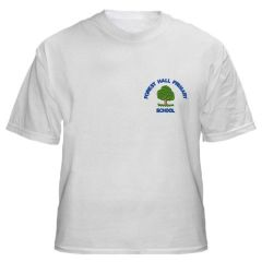 White PE T-Shirt - Embroidered with Forest Hall Primary School Logo
