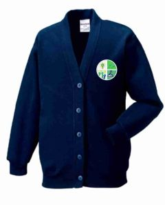 Navy Sweat Cardigan - Embroidered with Greenfields Community Primary School logo