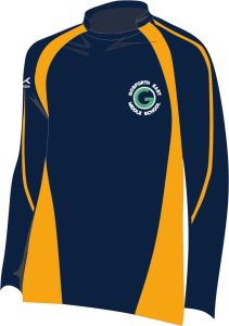 Navy/Amber Rugby Shirt - Embroidered with Gosforth East Middle School logo