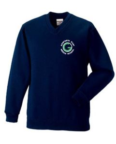 Navy V'Neck Sweatshirt with Embroidered Gosforth East Middle School Logo