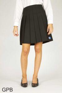 Black Senior Stitch Down Pleat Skirt (GPB) - Embroidered with George Stephenson High School Logo
