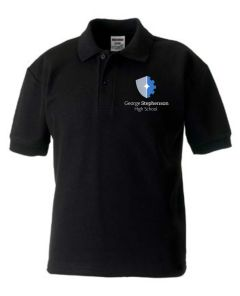 Black Polo for P.E. - embroidered with the George Stephenson High School Logo