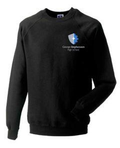 Black PE Sweatshirt Embroidered with George Stephenson High School logo