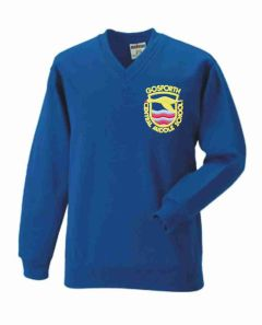 Royal V-Neck Sweatshirt - Embroidered with Gosforth Central Middle School logo