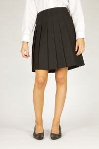 Black Senior Stitch Down Pleat Skirt - Plain (GPB)