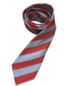 """Red/Silver 14"""" Clip-on School Tie for Christ's College, Sunderland (Essential for male students in Years 2-6)"""