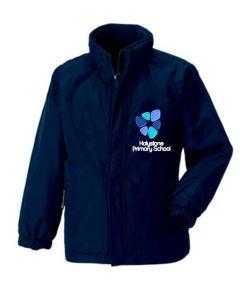 Navy Showerproof Coat with Holystone Primary School Logo