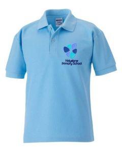 Sky Polo Shirt with Holystone Primary School logo