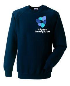 Navy Crew neck Sweatshirt - with Embroidered Holystone Primary School Logo