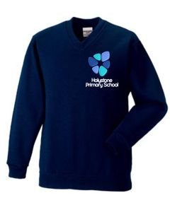 Navy V'Neck Sweatshirt embroidered with the Holystone Primary School Logo (Years 5 + 6 only)