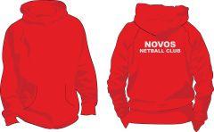 Fire Red Kids Hoodie - Novos Netball Club Printed on back