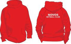 Fire Red College Hoodie - Novos Netball Club Printed on back