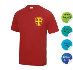 Neville - Red Infant/Junior House T-Shirt - Printed with Durham High School Logo