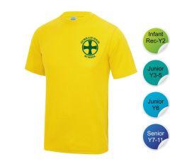 Heath - Yellow Infant/Junior House T-Shirt - Printed with Durham High School Logo