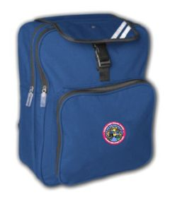 Royal Blue Junior Backpack  - Embroidered with Hadrian Park Primary School logo and pupil initials
