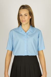 Blue Short Sleeve Non Iron Rever Collar Blouses - Twin Pack (HRP)