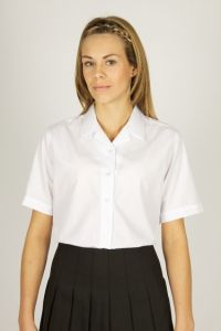 White  Short Sleeve Non Iron Rever Collar Blouses - Twin Pack (HRP)